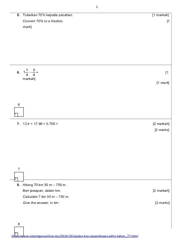 Soalan Kertas Ujian Matematik Kertas 2 Tahun 5 Kssr Cute766